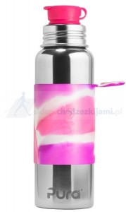 Butelka stalowa PURA Big Mouth Sport pink swirl 850 ml